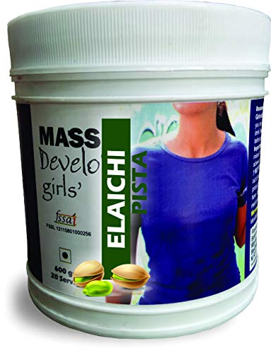 Develo Weight Mass Gainer Protein Shake Powder for Fast Gain in women girls, Nutrition Food Supplement, Health Drink with Natural Fat Energy I 27 Vitamins & Minerals I 600gm Elaichi Pista Flavour