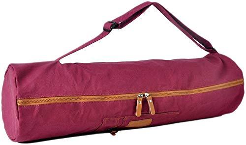 #DoYourYoga Bolsa de Yoga »Sunita«, Talla M Fabricada con Lienzo (Lona), laborioso Acabado/para esterillas de Yoga y de Gimnasia de hasta 180 x 60 x 0,3 cm/Rojo Rosado