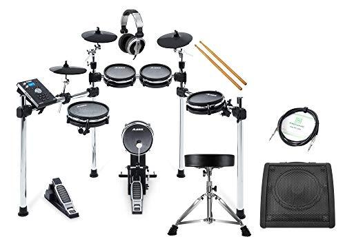 Alesis Command Mesh Kit Deluxe Set (Flüsterleises E-Drum mit Meshheads, Laden eigener Samples, zwei zusätzliche Trigger-Eingänge, inkl. Drum Monitor, Kopfhörer, Hocker, Sticks & Audio-Kabel)