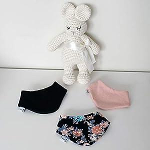 3er Set Halstücher – Navy/Rose meliert/Dunkelblau Blumen Baby Junge Baby Mädchen Halstuch Spucktuch Lätzchen