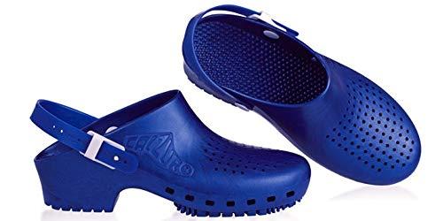 Calzuro - Zueco Sanitario con Tira (Azul Metalizado, Numeric_38)