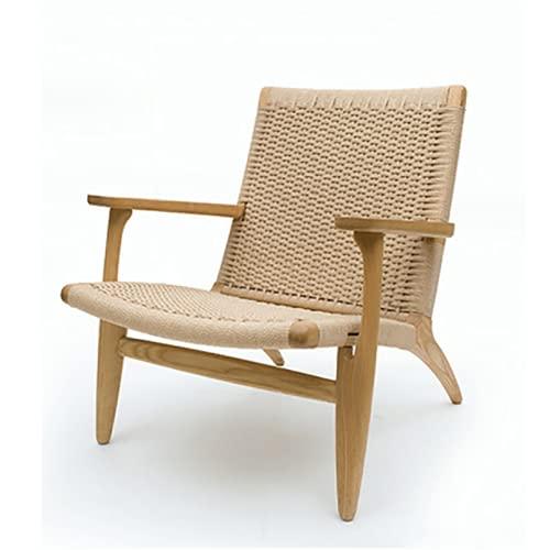 KUYH Massivholz-Lounge-Stuhl, Single Chair Balcony-Stuhl, handgefertigter Hanfseil-Sessel, Rattan-Stuhl, Schlafzimmer, Balkon, Hof
