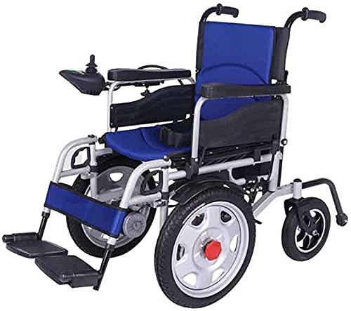Silla de ruedas eléctrica Doble Motor Frente Rueda grande Cómodo Cojín transpirable Luz Plegable Silla de ruedas Ancianos Discapacitados Scooter,Azul
