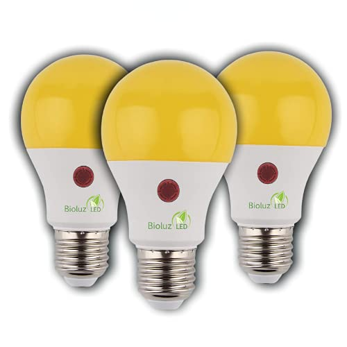 3 Pack Bioluz LED Yellow Dusk to Dawn A19 Bug Light Bulb Auto On/Off 60W Replacement 9W Photocell Photosensor Instant ON and 3 Min Delay Off Indoor/Outdoor Lighting Lamp Garage Hallway Yard Porch UL
