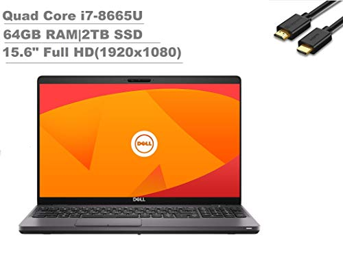 2020 Dell Latitude 5000 5500 15.6' Full HD FHD (1920x1080) Business Laptop (Intel Quad-Core i7-8665U, 64GB RAM, 2TB PCIe SSD) Backlit, Fingeprint, Type-C, HDMI, Webcam, Windows 10 Pro + IST HDMI Cable