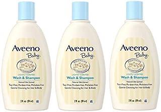 Aveeno Baby Wash & Shampoo, Tear Free, Travel Size 2 Oz (59ml) - Pack of 3