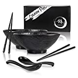 TERRA HOME Pho Ramen Bowls and Spoons Set with Anti-Slip Chopsticks - Large Noodle Bowl Set for Ramen Pho or Any Soup Noodles - All 6 Pieces in Matte Black Unbreakable Melamine - 54 Ounce