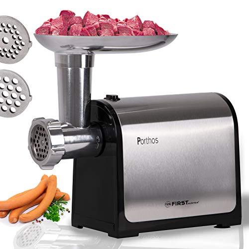 TZS First Austria Elektrischer Fleischwolf, praktisches Haushaltsgerät, Küchenmaschine zur Fleischverarbeitung, elektrische Wurstfüllmaschine, in Stahl/Schwarz, 300 W