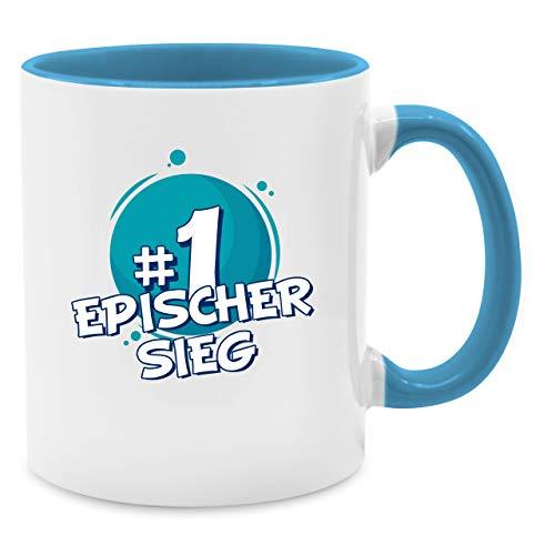 Shirtracer Tasse mit Spruch - #1 Epischer Sieg - Unisize - Hellblau - Geschenk zum Sieg - Q9061 - Kaffee-Tasse inkl. Geschenk-Verpackung