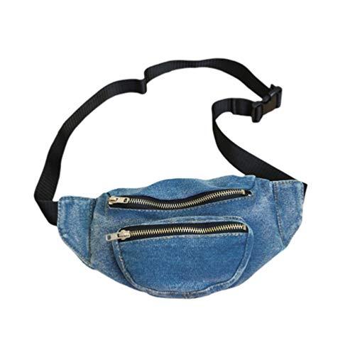 Borsa da viaggio in denim leggero Borsa a spalla portatile con tracolla a marsupio Borsa da viaggio a tracolla per donna (blu scuro)