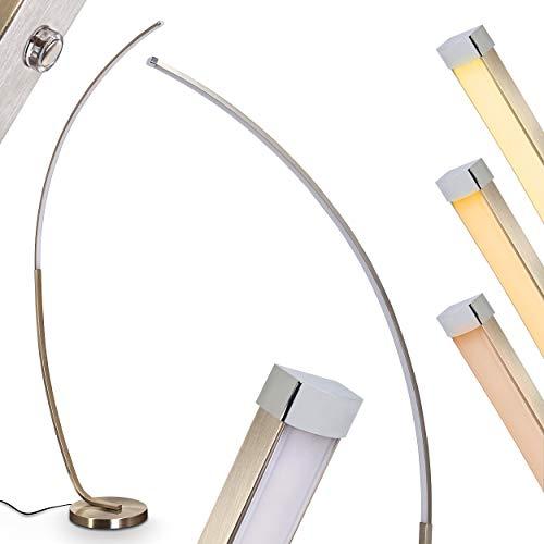 LED Stehlampe Antares aus Metall in Nickel-matt, Stehleuchte mit stufenlosem Touchdimmer am Gehäuse, 15 Watt, 700 Lumen (insgesamt), Lichtfarbe 3000 Kelvin (warmweiß)