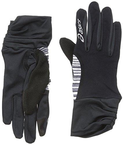 ASICS Damen Felicity Fleece-Handschuhe, Schwarz/Schwarz Weiß gestreift, Größe S/M