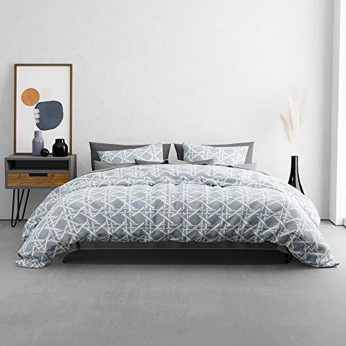 KØZY Living Traumwelt Bettwäsche-Set – 1 Deckenbezug 155x200 cm mit Kissenbezug 80x80 cm – hochwertige, atmungsaktive Ganzjahresbettwäsche Baumwolle mit Reißverschluss - Pastellblau-Raute