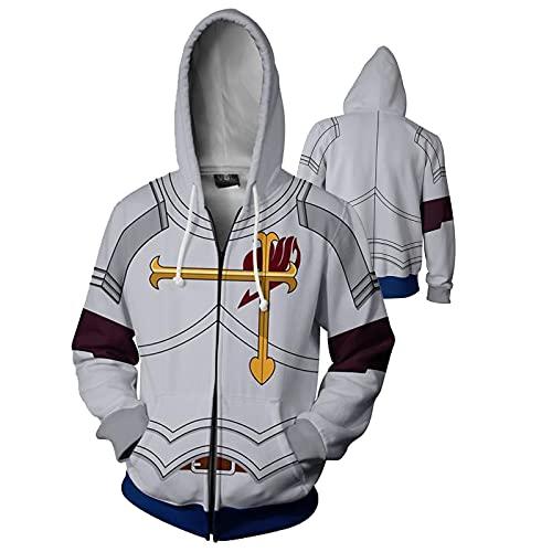 Unisex for hombres y mujeres. CUENTO DE HADAS Sudadera Cola de hadas 3D Imprimir sudadera con capucha cordón suéter sudadera chaqueta (Color : Zipper, Size : M)