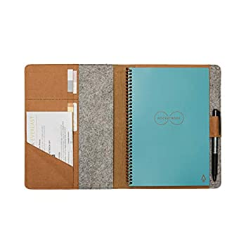 Moonsafari A5 Reusable Notebook Cover & Rocketbook Cover Smart Business Notebook Cover for Everlast Fusion Wave Moleskin and More with Pen Loop & Business Card Holder - Brown,A5/Executive 8.8  x 6
