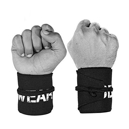 WOD Wear Wrist Wraps for Powerlifting, Strength Training, Bodybuilding, Cross Training, Olympic Weightlifting, Yoga Support - One Size Fits All - 100% (Black 10-Pack)