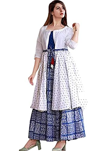 suhag Latest Kurti with Jacket for Women and Girls,Anarkali, Blue|| Women's Fashion Bollywood Designer Long Kurti with Jacket Gown Dresses (XL)