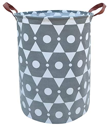 ASKETAM Laundry BasketCanvas Fabric Laundry HamperDirty Clothes Storage BinCollapsible Toy Organizer for OfficeBedroom ClothesToysGift Basket Grey Hexagon