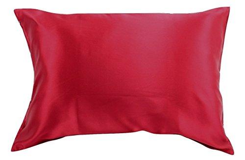 100% Seide Kissenbezüge für Haar Reißverschluss Luxus 25Momme Maulbeer Seide Charmeuse Seide auf beiden Seiten, Geschenk wrapped-, Seide, rot, King Size
