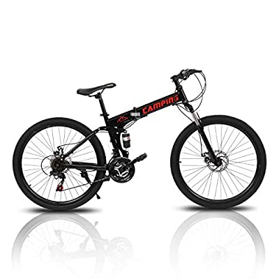 "PEXMOR 26"" Folding Mountain Bike, 21 Speed Mountain Bicycle Foldable with High Carbon Steel Frame & Double Disc Brake, Front Suspension Anti-Skid Shock-Absorbing Front Fork, Outdoor Adult Bike, Black"