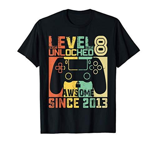 Level 8 Unlocked Video Gamer| 8 Year Old Birthday Kids Gift T-Shirt