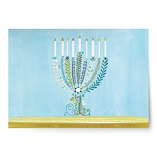 Designer Greetings Boxed Hanukkah Cards, Illustrative Lit Menorah Design (Box of 18 Foil-Embossed Cards with Envelopes)