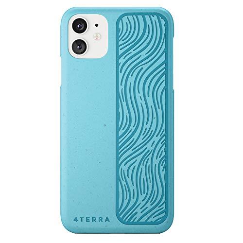 4 Terra Funda Compatible con el iPhone 11, Funda de plástico para teléfono Totalmente Biodegradable y ecológica, Funda Protectora para teléfono Totalmente sostenible, Turquesa