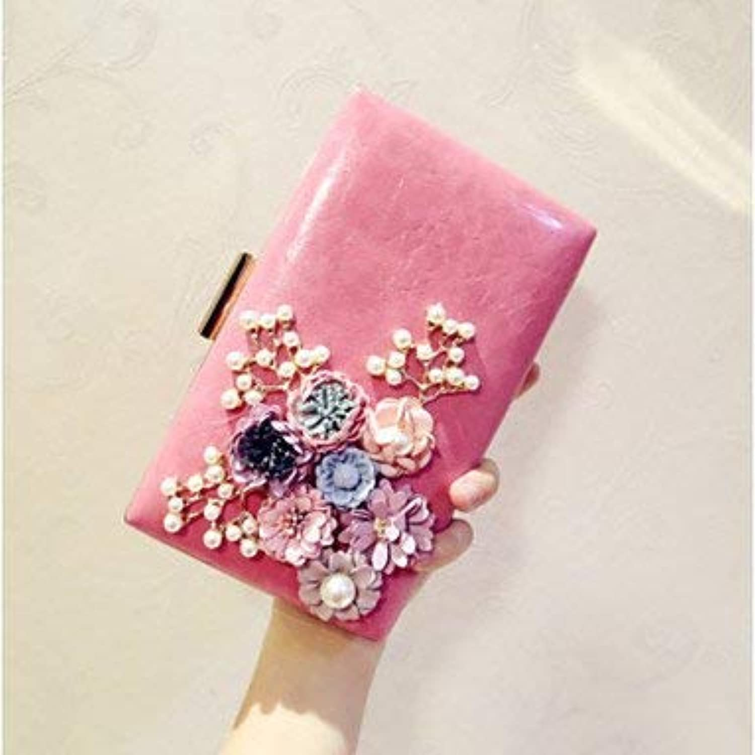 Clutch Bag Women Evening Bag PU All Seasons Event Party Party & Evening Club Baguette Flower Magnetic Peach blueshing Pink Black White Dinner Purse (color   Peach)
