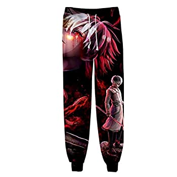 Anime Tokyo Ghoul 3D Printed Cosplay Costume Gym Joggers Casual Active Track Pants Trousers Drawstring Sports Sweatpants 02 S