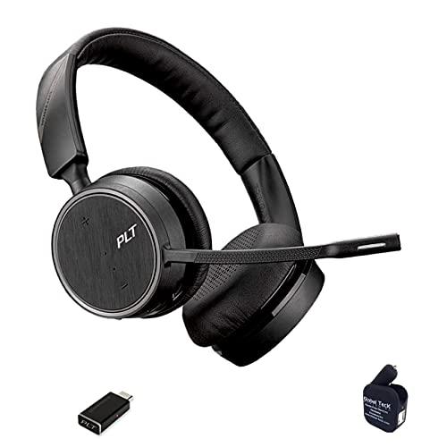Plantronics Voyager 4220-UC Bluetooth Headset Bundle (USB C) Compatible for Dragon, Softphones, Zoom, Teams, Skype, RingCentral, Cisco, Avaya