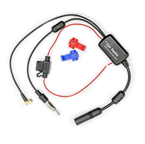 Vecys FM/AM DAB DAB + Autoantenne Signalverstärker Booster SMB Buchse auf DIN Stecker Adapter 12V Digital Radio Antennensplitter Antennenverstärker für LKW Auto Audio Stereo DAB + Autoradio