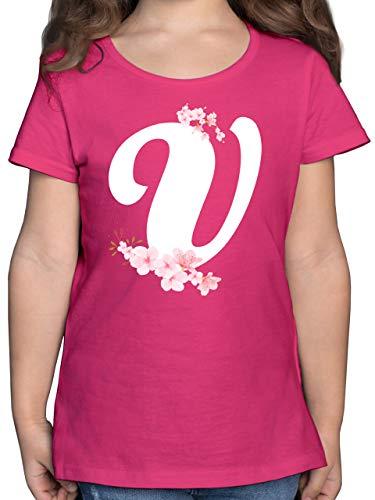 Anfangsbuchstaben Kind - Buchstabe V mit Kirschblüten - 164 (14/15 Jahre) - Fuchsia - F131K_Shirt_Mädchen - F131K - Mädchen Kinder T-Shirt