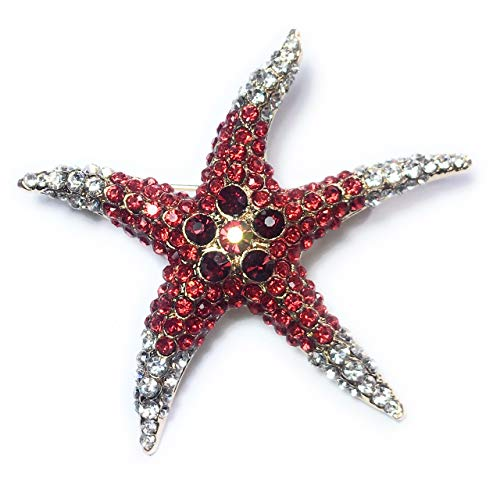 FizzyButton Gifts Starfish Pin Badge Brooch with Red and Clear Rhinestone Detail