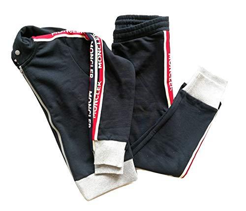 Moncler Junior Completo Pantaloni + Felpa Maglia Zip con Cappuccio Bambino Blu 8811700 (10 Anni)
