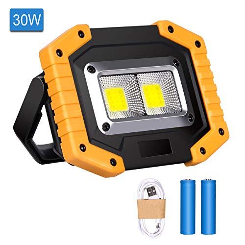 Luz de Trabajo LED Recargable, Luz de Inundación Portátil 30W USB, 3 Modos, Linterna al Aire Libre Impermeable para la Reparación de Automóviles, Pesca, Camping, Luces de Seguridad de Emergencia