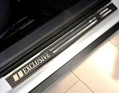 V-Protect Exclusive Edelstahl Einstiegsleisten Einstiegssutz Lackschutz Edelstahlschutz Schwellerleisten mit Abkantung 3D Carbon (1312-401)