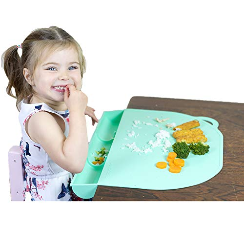 UpwardBaby Food Catching Baby Placemat with Suction Mint Silicone Placemats for Kids Babies and Toddlers - Clean Mealtimes at Home Or for Restaurants - See Video Demonstration
