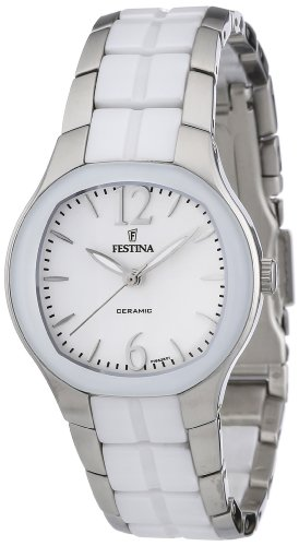 Festina F16626/1 - Reloj analógico de Cuarzo para Mujer con Correa de Acero Inoxidable, Color Blanco