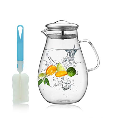 Wasserkaraffe 1.9L, Wasserkrug, Karaffe ,Glaskanne aus Hitzebeständigem Borosilikatglas mit Deckel aus Edelstahl