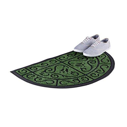 Relaxdays Fußmatte halbrund Gummi, Rutschfester Fußabstreifer für Außenbereich & Flur, Schmutzfangmatte 50x80 cm, Grün