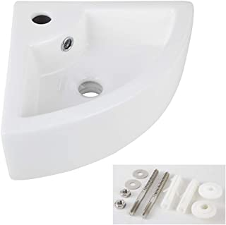 AWESON Small Corner Wall Mount Vessel Sink,White Vitreous China, Above Counter Corner..