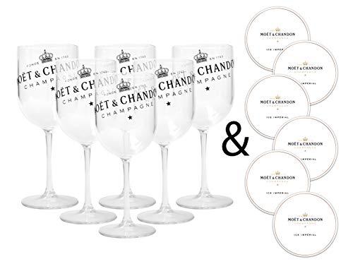Moët & Chandon Ice Impérial Champagne & Prosecco Acrylglazen mok bekers met een set papieren onderzetters Transparant