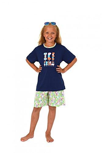 Normann Cooler Mädchen Kinder Pyjama Shorty Kurzarm in tollen Farben 171 405 90 842, Farbe:Marine;Größe:140