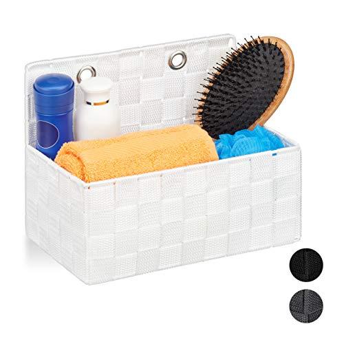 Relaxdays Aufbewahrungskorb hängend, Organizer im Bad, Flur, Schlafzimmer, Hängeaufbewahrung HxBxT 20 x 25 x 15 cm, weiß, 1 Stück