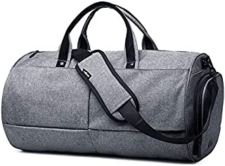 Rubik Duffel Bag, Fitness Sports Gym Bag for Men Women with Wet Pocket & Shoes Compartment, Waterproof Carry on Baggage Grey