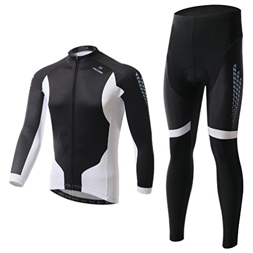 Baymate Unisexe Ensemble de Cycliste Manches Longues Maillot Velo + Pantalons de Cycliste Respirant Vêtements de Cyclisme XL