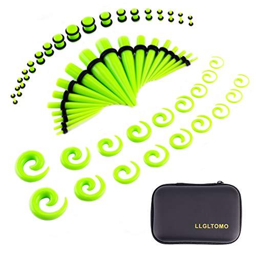 LLGL-EU Ohr-Stretching-Kit 54 Stück 14G-00G Ohrmessgeräte Expander Set Acryl Verjünger und Stecker & Silikon Tunnel Piercing-Schmuck-Set mit Eva-Box (Fluorescent Green)