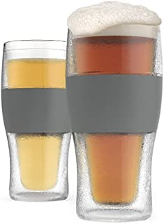 Host Freeze Beer Mug Insulated Plastic Set of 2, 16 oz Pint Glasses in Grey, 2