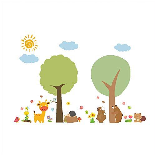 Cartoon Zoo Tree Animals Etiqueta de la pared para la habitación de los niños Decoración del hogar Sala de estar Calcomanías de fondo Decoraciones Pegatinas de jardín de infantes