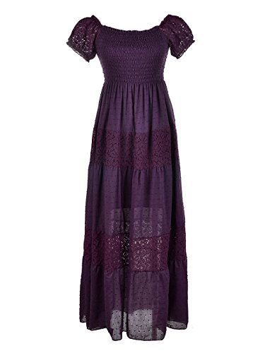 Anna-Kaci Womens Off Shoulder Boho Lace Semi Sheer Smocked Maxi Long Dress, Purple, Medium